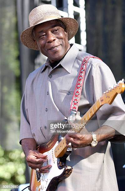 Buddy Guy performs with 'Double Trouble', backing group of the late guitarist Stevie Ray Vaughn, at the 12th Annual Santa Cruz Blues Festival on May...
