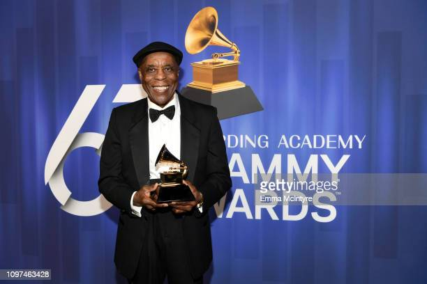 Buddy Guy poses with his award at the 61st Annual GRAMMY Awards Premiere Ceremony at Microsoft Theater on February 10 2019 in Los Angeles California
