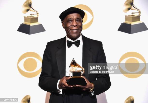 Buddy Guy, winner of Best Traditional Blues Album for 'The Blues Is Alive And Well', poses in the press room during the 61st Annual GRAMMY Awards at...