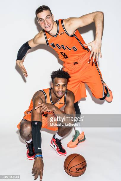 Buddy Hield and Bogdan Bogdanovic of the World team pose for a portrait prior to the Mountain Dew Kickstart Rising Stars Game during AllStar Friday...