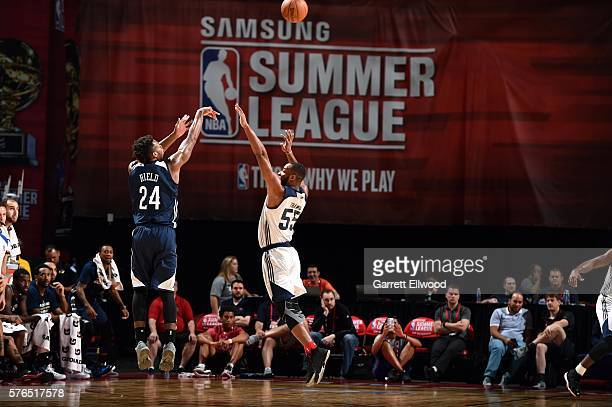 Buddy Hield of New Orleans Pelicans shoots the ball during the game against Jabril Trawick of NBA DLeague Select during the 2016 Las Vegas Summer...