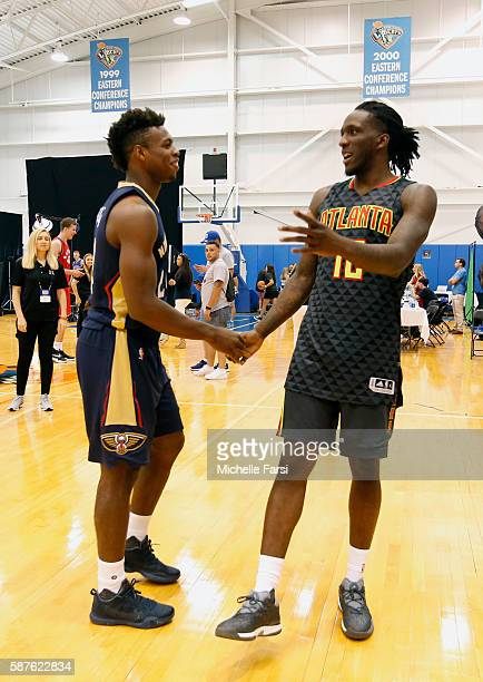 Buddy Hield of the New Orleans Pelicans and Taurean Prince of the Atlanta Hawks during the 2016 NBA rookie photo shoot on August 7 2016 at the...