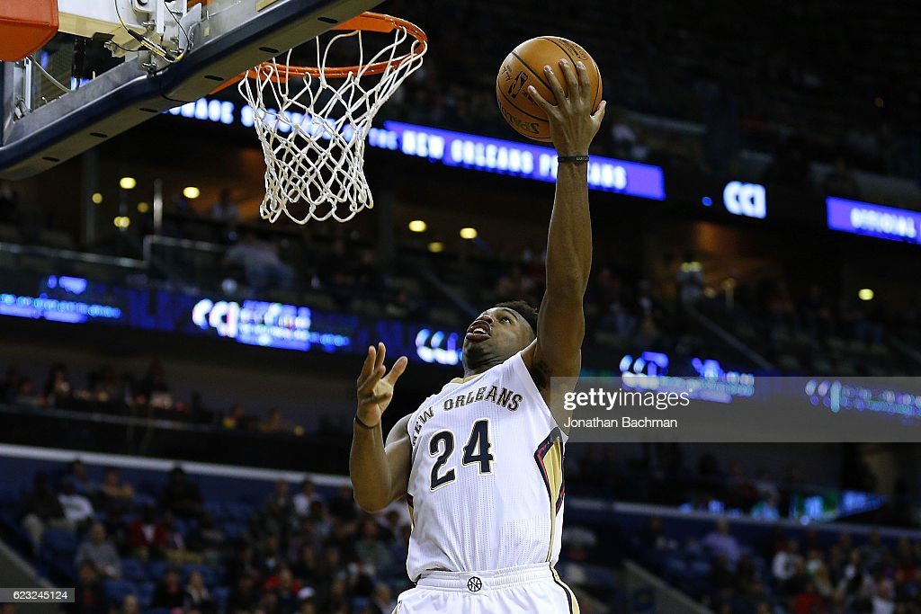 Buddy Hield #24 of the New Orleans Pelicans shoots during the second half of a game against the Boston Celtics at the Smoothie King Center on November 14, 2016 in New Orleans, Louisiana.