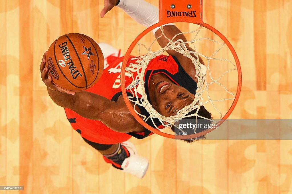 Buddy Hield #24 of the New Orleans Pelicans shoots the ball in the first half against the US Team during the 2017 BBVA Compass Rising Stars Challenge at Smoothie King Center on February 17, 2017 in New Orleans, Louisiana.