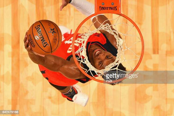 Buddy Hield of the New Orleans Pelicans shoots the ball in the first half against the US Team during the 2017 BBVA Compass Rising Stars Challenge at...