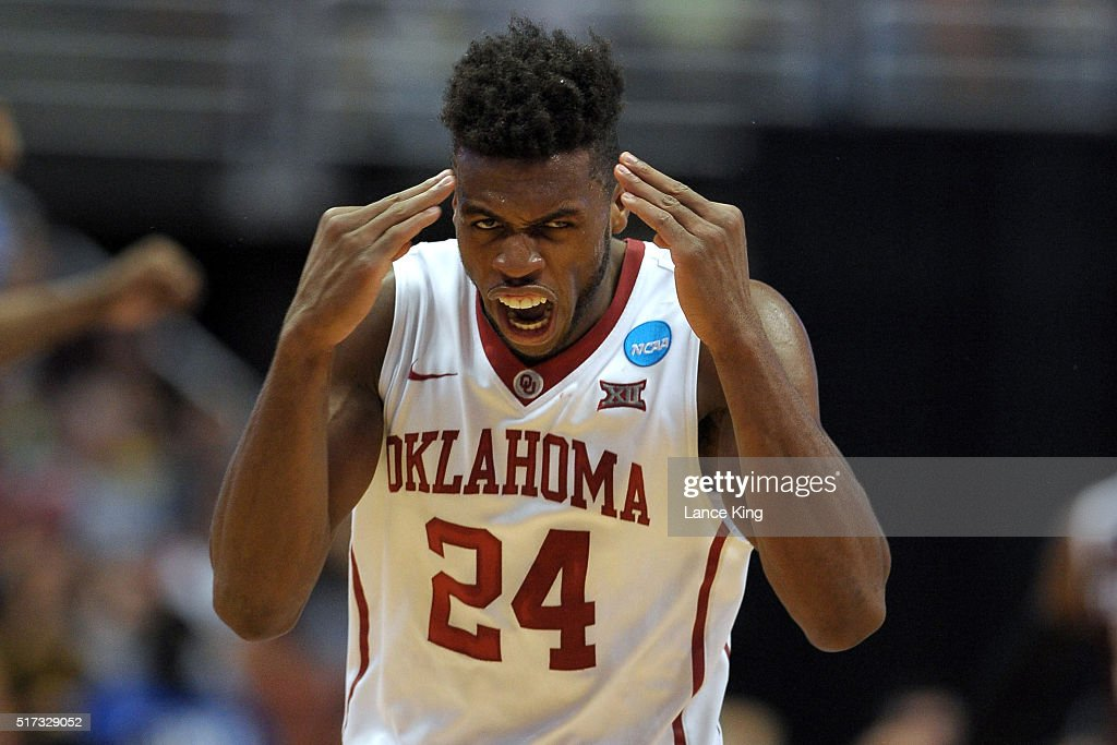 Buddy Hield #24 of the Oklahoma Sooners reacts against the Texas A&M Aggies during the West Regional Semifinal of the 2016 NCAA Men's Basketball Tournament at Honda Center on March 24, 2016 in Anaheim, California.
