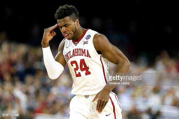 Buddy Hield of the Oklahoma Sooners reacts in the first half against the Villanova Wildcats during the NCAA Men's Final Four Semifinal at NRG Stadium...
