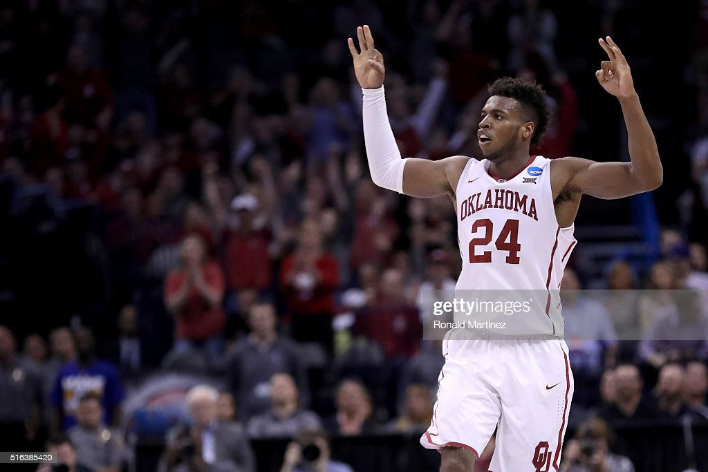 Buddy Hield #24 of the Oklahoma Sooners reacts in the second half while taking on the Cal State Bakersfield Roadrunners in the first round of the 2016 NCAA Men's Basketball Tournament at Chesapeake Energy Arena on March 18, 2016 in Oklahoma City, Oklahoma.