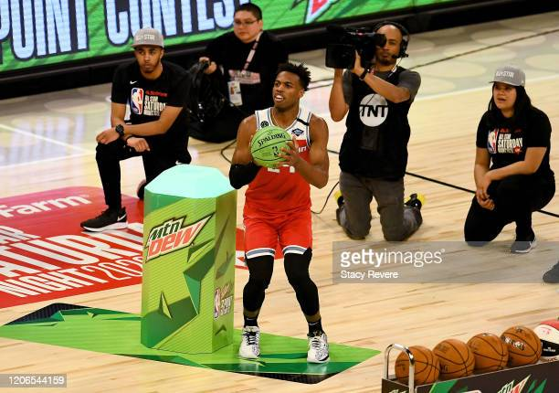 Buddy Hield of the Sacramento Kings attempts a shot in the 2020 NBA All-Star - MTN DEW 3-Point Contest during State Farm All-Star Saturday Night at...