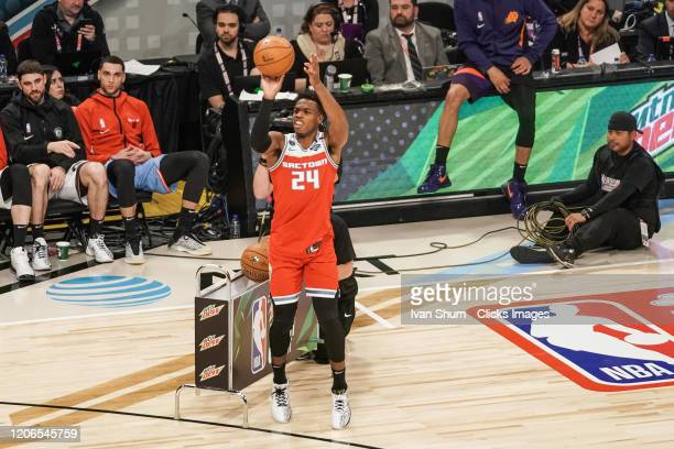Buddy Hield of the Sacramento Kings attempts a shot in the 2020 NBA AllStar MTN DEW 3Point Contest during State Farm AllStar Saturday Night at at...