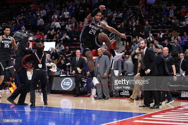 Buddy Hield of the Sacramento Kings celebrates after hitting the game winning shot to end the game against the Detroit Pistons at Little Caesars...