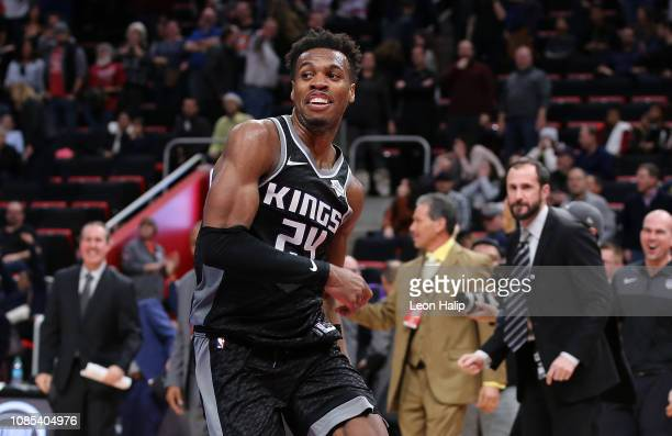 Buddy Hield of the Sacramento Kings celebrates after hitting the game winning shot to end the game agains the Detroit Pistons at Little Caesars Arena...