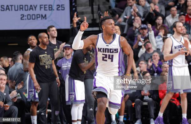 Buddy Hield of the Sacramento Kings celebrates against the Denver Nuggets on February 23 2017 at Golden 1 Center in Sacramento California NOTE TO...