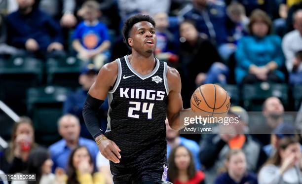 Buddy Hield of the Sacramento Kings dribbles the ball against the Indiana Pacers at Bankers Life Fieldhouse on December 20, 2019 in Indianapolis,...