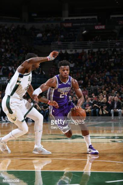 Buddy Hield of the Sacramento Kings drives to the basket against the Milwaukee Bucks on December 2 2017 at the BMO Harris Bradley Center in Milwaukee...
