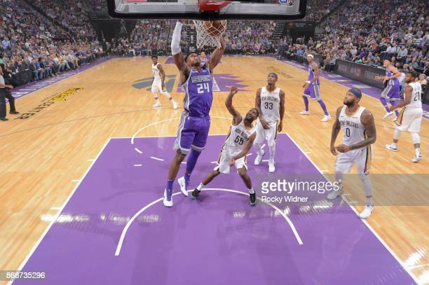 Buddy Hield of the Sacramento Kings dunks against the New Orleans Pelicans on October 26 2017 at Golden 1 Center in Sacramento California NOTE TO...