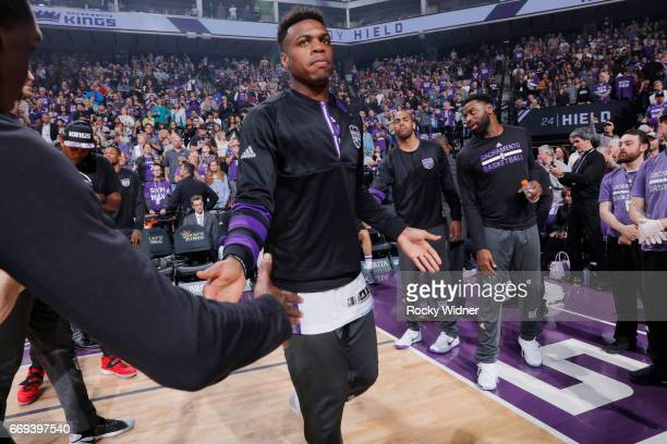 Buddy Hield of the Sacramento Kings gets introduced into the starting lineup against the Phoenix Suns on April 11 2017 at Golden 1 Center in...