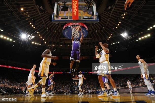 Buddy Hield of the Sacramento Kings goes to the basket against the Golden State Warriors on March 24 2017 at ORACLE Arena in Oakland California NOTE...