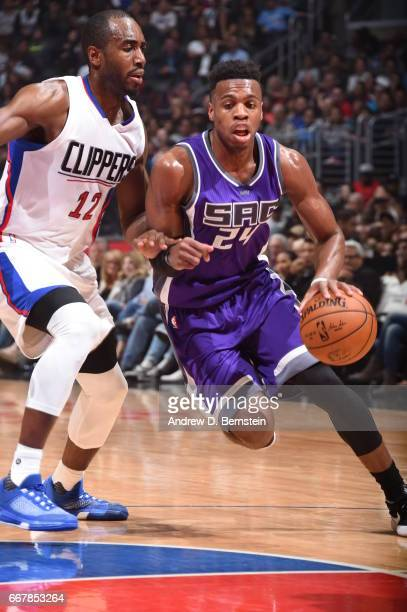 Buddy Hield of the Sacramento Kings goes to the basket against the Los Angeles Clippers on April 12 2017 at STAPLES Center in Los Angeles California...