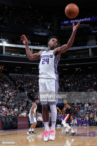 Buddy Hield of the Sacramento Kings grabs the rebound against the Portland Trail Blazers during a preseason game on October 9 2017 at ORACLE Arena in...