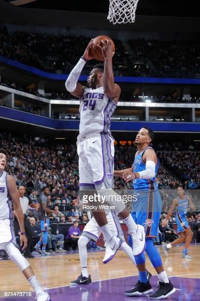 Buddy Hield of the Sacramento Kings grabs the rebound against the Oklahoma City Thunder on November 7 2017 at Golden 1 Center in Sacramento...