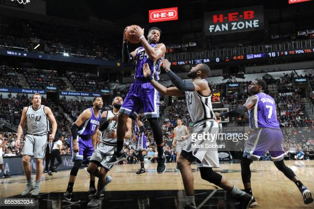Buddy Hield of the Sacramento Kings grabs the rebound against the San Antonio Spurs during the game on March 19 2017 at the ATT Center in San Antonio...