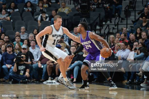 Buddy Hield of the Sacramento Kings handles the ball against David Lee of the San Antonio Spurs during a game on March 8 2017 at the ATT Center in...