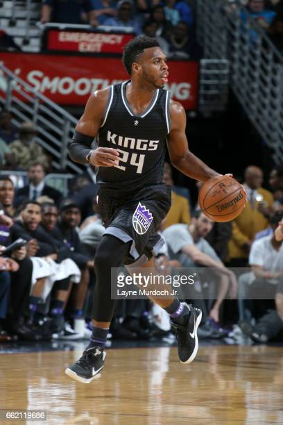 Buddy Hield of the Sacramento Kings handles the ball against the New Orleans Pelicans on March 31 2017 at the Smoothie King Center in New Orleans...