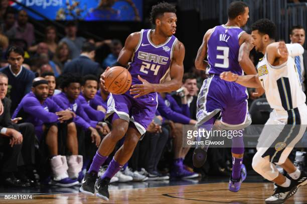 Buddy Hield of the Sacramento Kings handles the ball against the Denver Nuggets on October 21 2017 at the Pepsi Center in Denver Colorado NOTE TO...