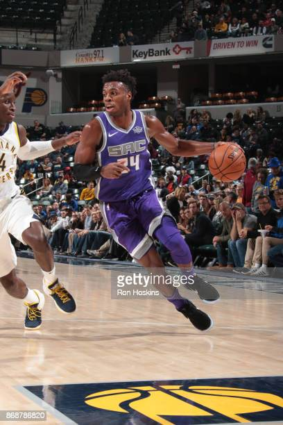 Buddy Hield of the Sacramento Kings handles the ball against the Indiana Pacers on October 31 2017 at Bankers Life Fieldhouse in Indianapolis Indiana...