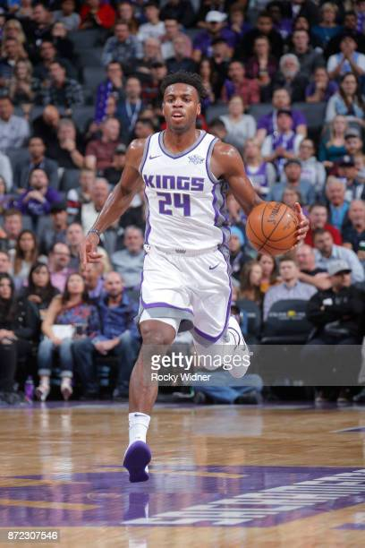 Buddy Hield of the Sacramento Kings handles the ball against the Philadelphia 76ers on November 9 2017 at Golden 1 Center in Sacramento California...
