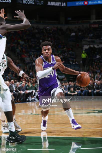Buddy Hield of the Sacramento Kings handles the ball against the Milwaukee Bucks on December 2 2017 at the BMO Harris Bradley Center in Milwaukee...