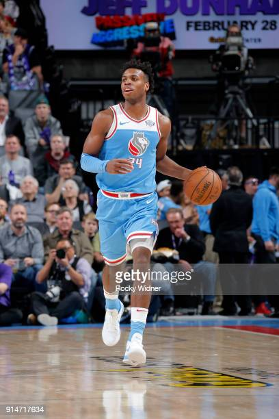 Buddy Hield of the Sacramento Kings handles the ball against the Chicago Bulls on February 5 2018 at Golden 1 Center in Sacramento California NOTE TO...