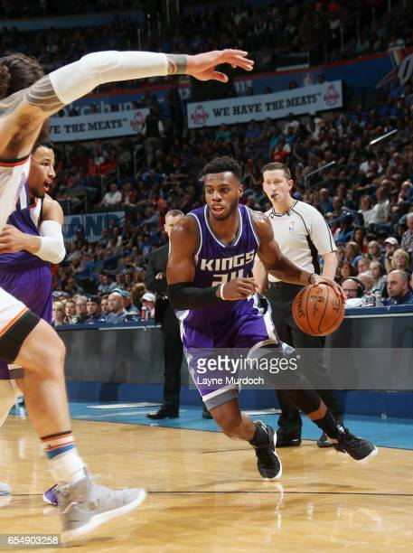 Buddy Hield of the Sacramento Kings handles the ball against the Oklahoma City Thunder during the game on March 18 2017 at Chesapeake Energy Arena in...