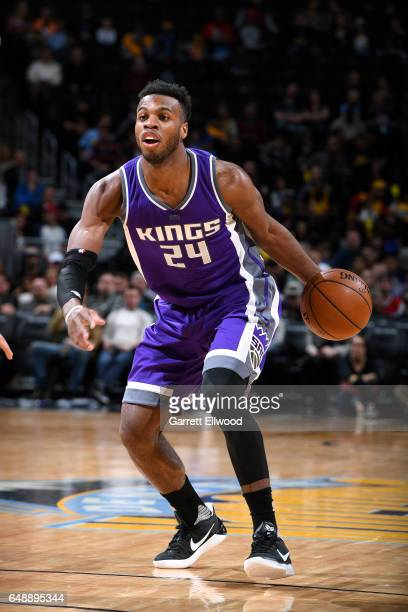 Buddy Hield of the Sacramento Kings handles the ball during the game against the Denver Nuggets on March 6 2017 at the Pepsi Center in Denver...