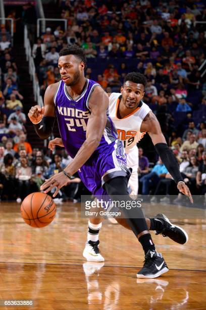 Buddy Hield of the Sacramento Kings handles the ball during the game against the Phoenix Suns on March 15 2017 at US Airways Center in Phoenix...