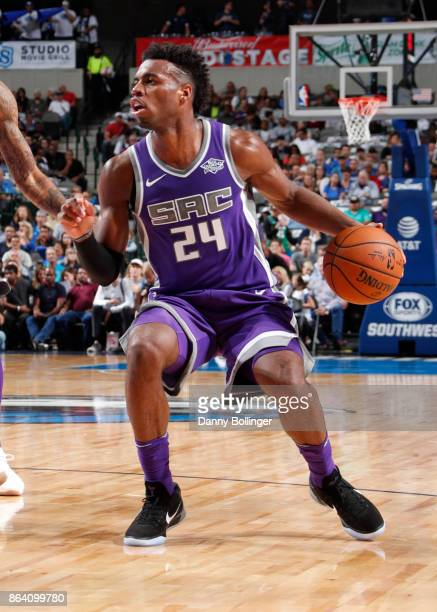 Buddy Hield of the Sacramento Kings handles the ball during the game against the Dallas Mavericks on October 20 2017 at the American Airlines Center...