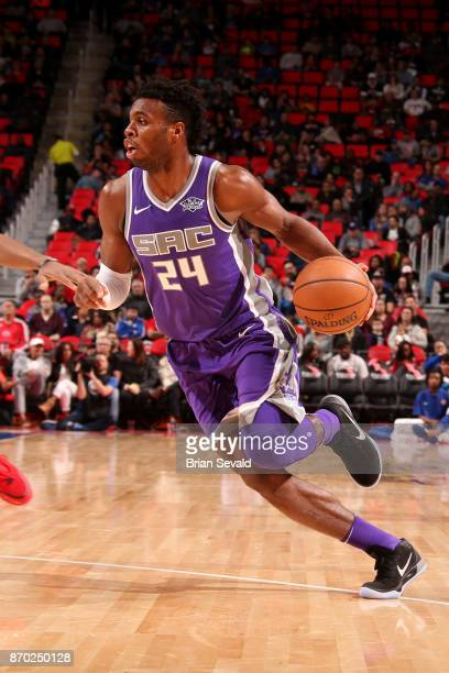 Buddy Hield of the Sacramento Kings handles the ball during the game against the Detroit Pistons on November 4 2017 at Little Caesars Arena in...