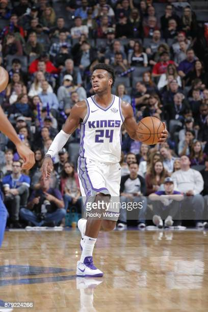 Buddy Hield of the Sacramento Kings handles the ball during the game against the LA Clippers on November 25 2017 at Golden 1 Center in Sacramento...