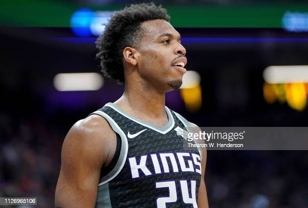 Buddy Hield of the Sacramento Kings looks on against the Atlanta Hawks during an NBA basketball game at Golden 1 Center on January 30 2019 in...