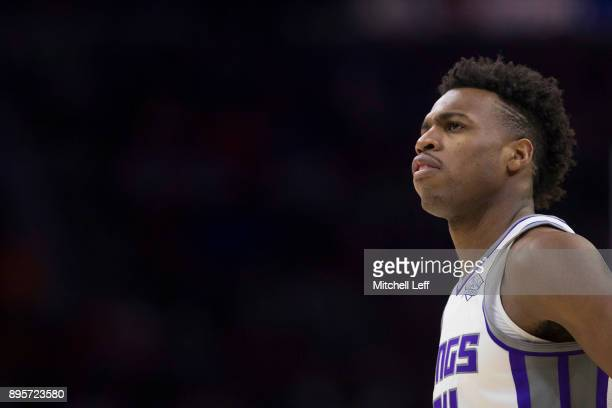 Buddy Hield of the Sacramento Kings looks on against the Philadelphia 76ers at the Wells Fargo Center on December 19 2017 in Philadelphia...
