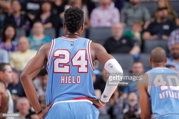 Buddy Hield of the Sacramento Kings looks on during the game against the Washington Wizards on March 10 2017 at Golden 1 Center in Sacramento...