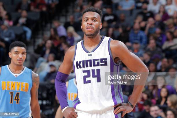Buddy Hield of the Sacramento Kings looks on during the game against the Denver Nuggets on March 11 2017 at Golden 1 Center in Sacramento California...
