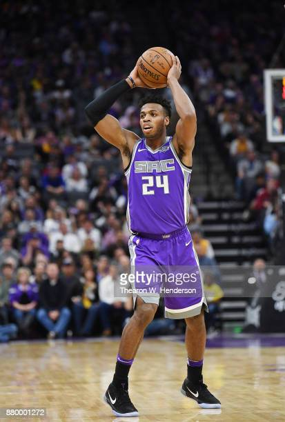 Buddy Hield of the Sacramento Kings looks to pass the ball against the Los Angeles Lakers during their NBA basketball game at Golden 1 Center on...