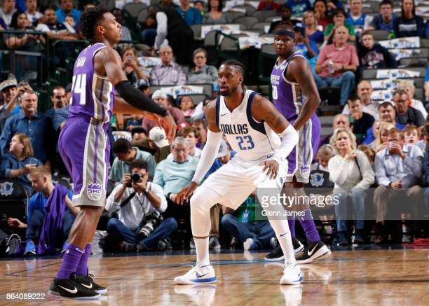 Buddy Hield of the Sacramento Kings passes the ball during the game against the Dallas Mavericks on October 20 2017 at the American Airlines Center...