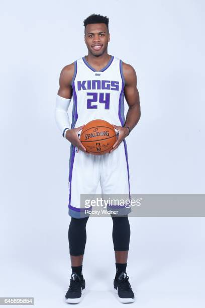 Buddy Hield of the Sacramento Kings poses for a photo on February 24, 2017 at the Golden 1 Center in Sacramento, California. NOTE TO USER: User...
