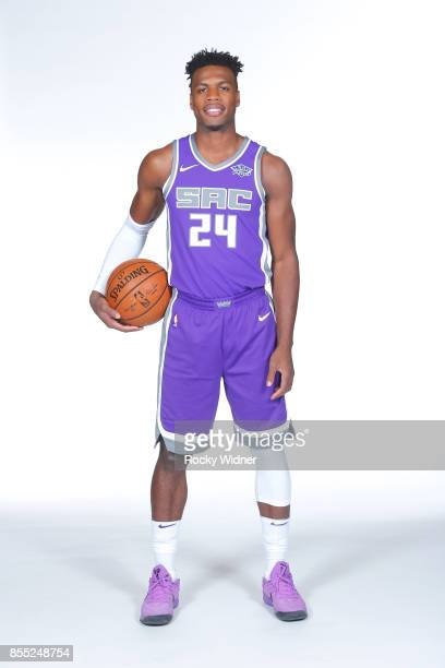Buddy Hield of the Sacramento Kings poses for a portrait during Media Day on September 25 2017 at the Golden 1 Center in Sacramento California NOTE...