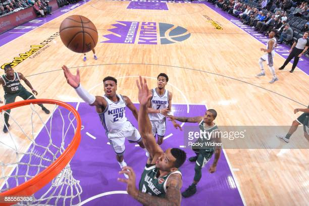 Buddy Hield of the Sacramento Kings puts up a shot against the Milwaukee Bucks on November 28 2017 at Golden 1 Center in Sacramento California NOTE...