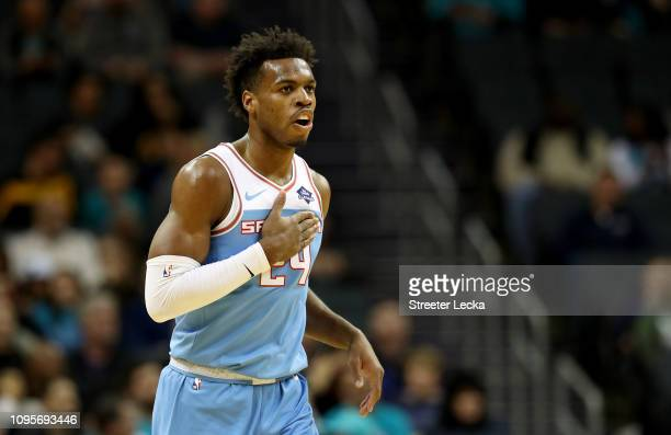 Buddy Hield of the Sacramento Kings reacts after a play against the Charlotte Hornets during their game at Spectrum Center on January 17, 2019 in...