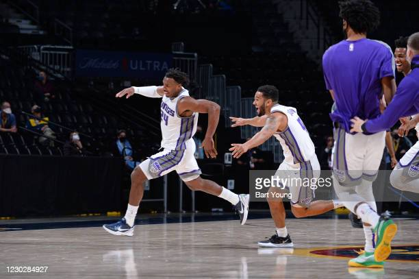Buddy Hield of the Sacramento Kings reacts after making the game winning shot against the Denver Nuggets on December 23, 2020 at the Pepsi Center in...